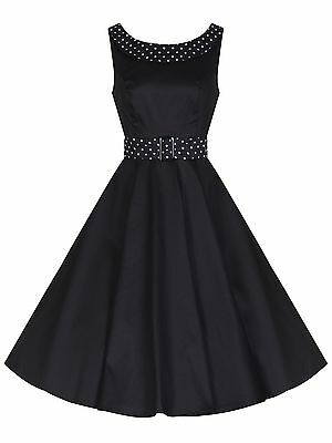 Ladies 40s 50s Audrey Vintage Black Polka Dot Trim Swing Cocktail Dress 8-18 New