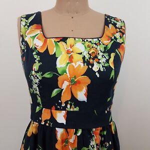 Paper-Scissors-Fit-amp-Flare-Dress-SZ-12-Floral-Tie-Back-Stretch-Retro-Look