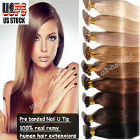Pre Bonded 100% Remy Human Hair Extensions Keratin Nail U Tip Glue Fusion Us T20