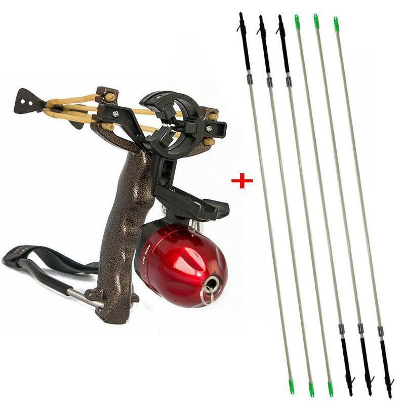 Pro Powerful Shooting Fish Slingshot Wrist Rest 6X Fishing Arrows Hunting Tool