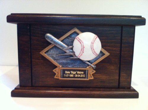 Cremation Urn, Wood Urn, Baseball Urn, Wooden Funeral Urn with Engraving