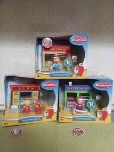 3 Rare Richard Scarry's Busytown Train Adtl Playsets Grocery, Book, News Stores