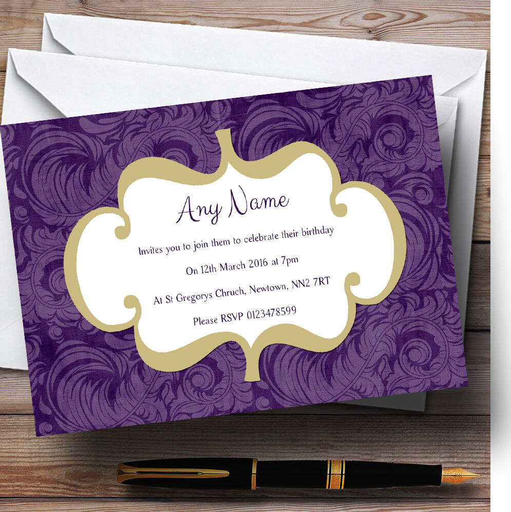 Púrpura Vintage Clásica Personalizado Fiesta De Cumpleaños Invitaciones