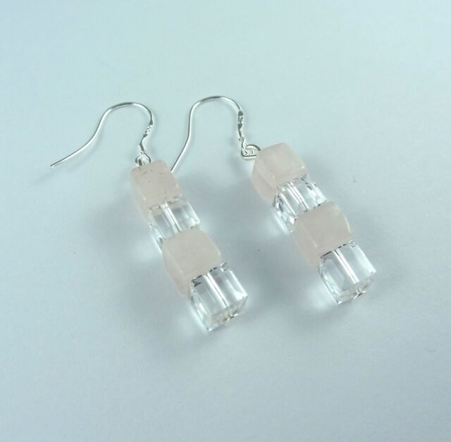 Natural Rose Quartz Crystal Cube Dangle Earrings Silver Plate