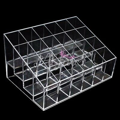 24 Clear Acrylic Makeup Lipstick Cosmetic Display Stand Organizer Holder Case