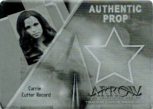 Arrow-Season-4-Black-Printing-Plate-Prop-Card-of-Carrie-Cutter-Record
