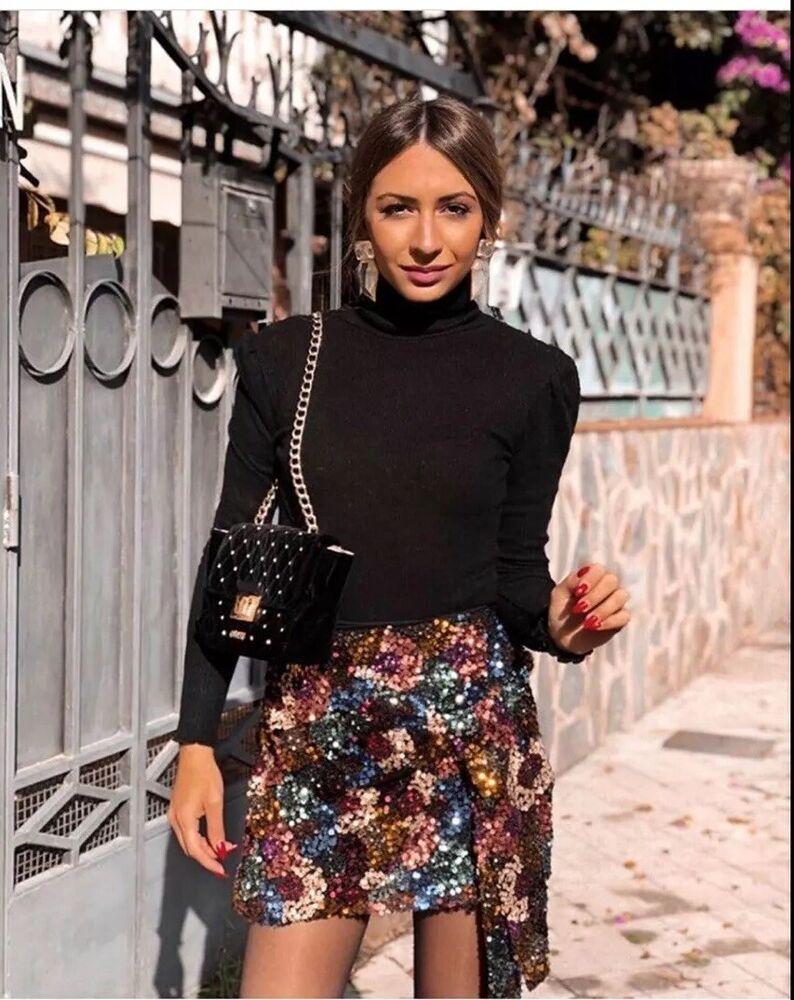 Zara Multicolore Sequin Mini Jupe, Taille M Uk 10 New