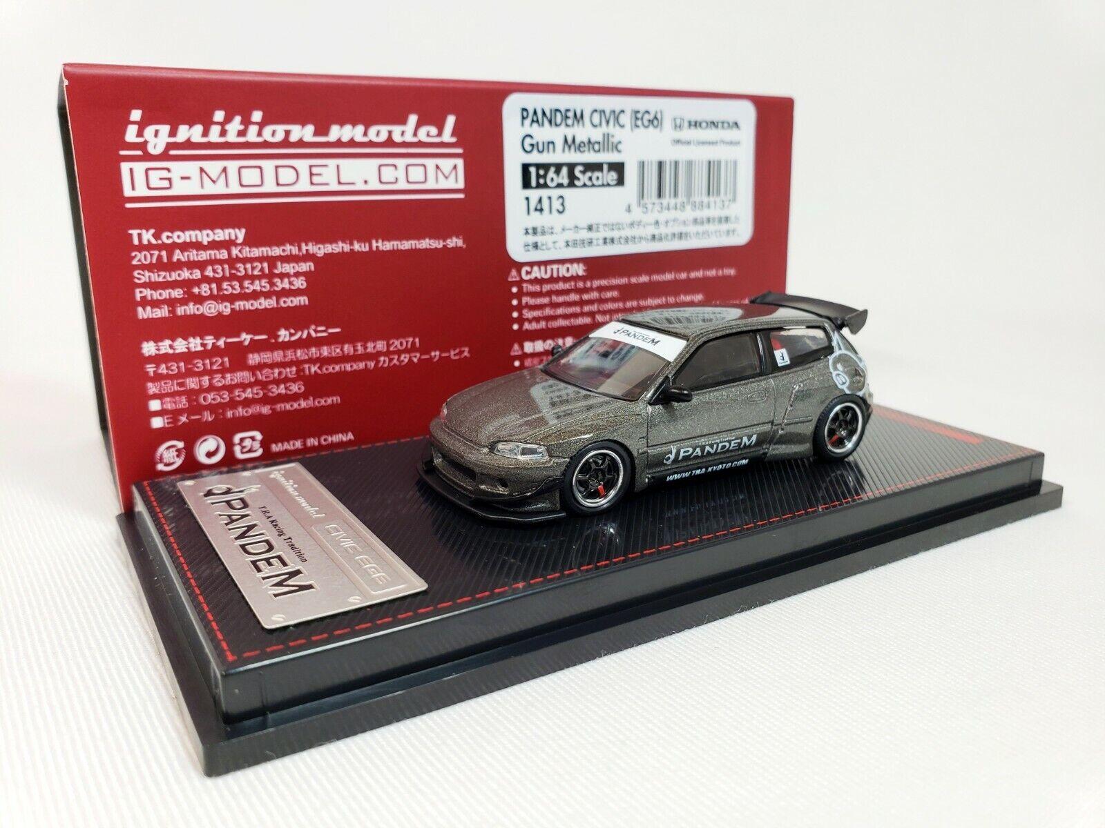 1 64 Ignición Honda Civic EG6 pandem pistola gris Metálico JDM edición limitada de IG1413. Nueva