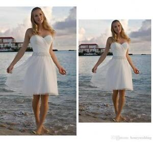 Summer Short Beach Wedding Dress Sweetheart Bridal Gown Knee Length Crystals New Ebay,Knee Length Fall Wedding Guest Dresses With Sleeves
