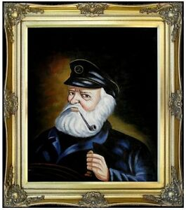 Framed Old Sea Captain Repro Quality Hand Painted Oil Painting