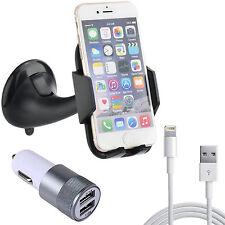 iPhone 6 / 6S Auto Handy Halterung + KFZ Doppel USB Ladegerät 2,1A + Ladekabel
