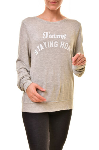 Wildfox Women/'s J'aime Staying Home WSR613 78W Sweatshirt Grey S