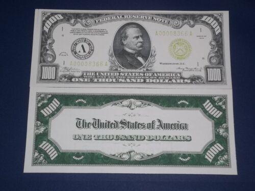 1934 $1,000 FEDERAL RESERVE COPY NOTE! CRISP UNC