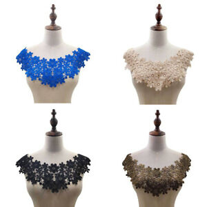 1PC Embroidered Floral Lace Neckline Neck Collar Trim Clothes Sewing-Patch FO