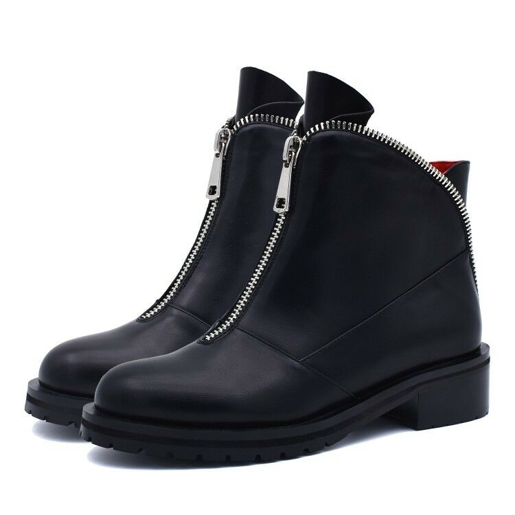 Women Roman Zip Block Mid Heels Gladiator Ankle Boots Black Chunky Booties Shoes