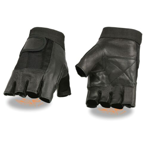 Milwaukee Leather Men's BLK Leather//Mesh Fingerless Glove w// Padded Palm SH217