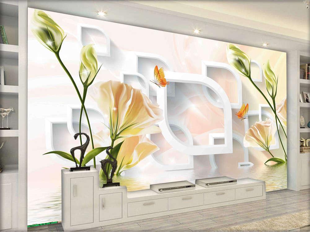 Bright Graceful Flowers 3D Full Wall Mural Photo Wallpaper Printing Home Kids De