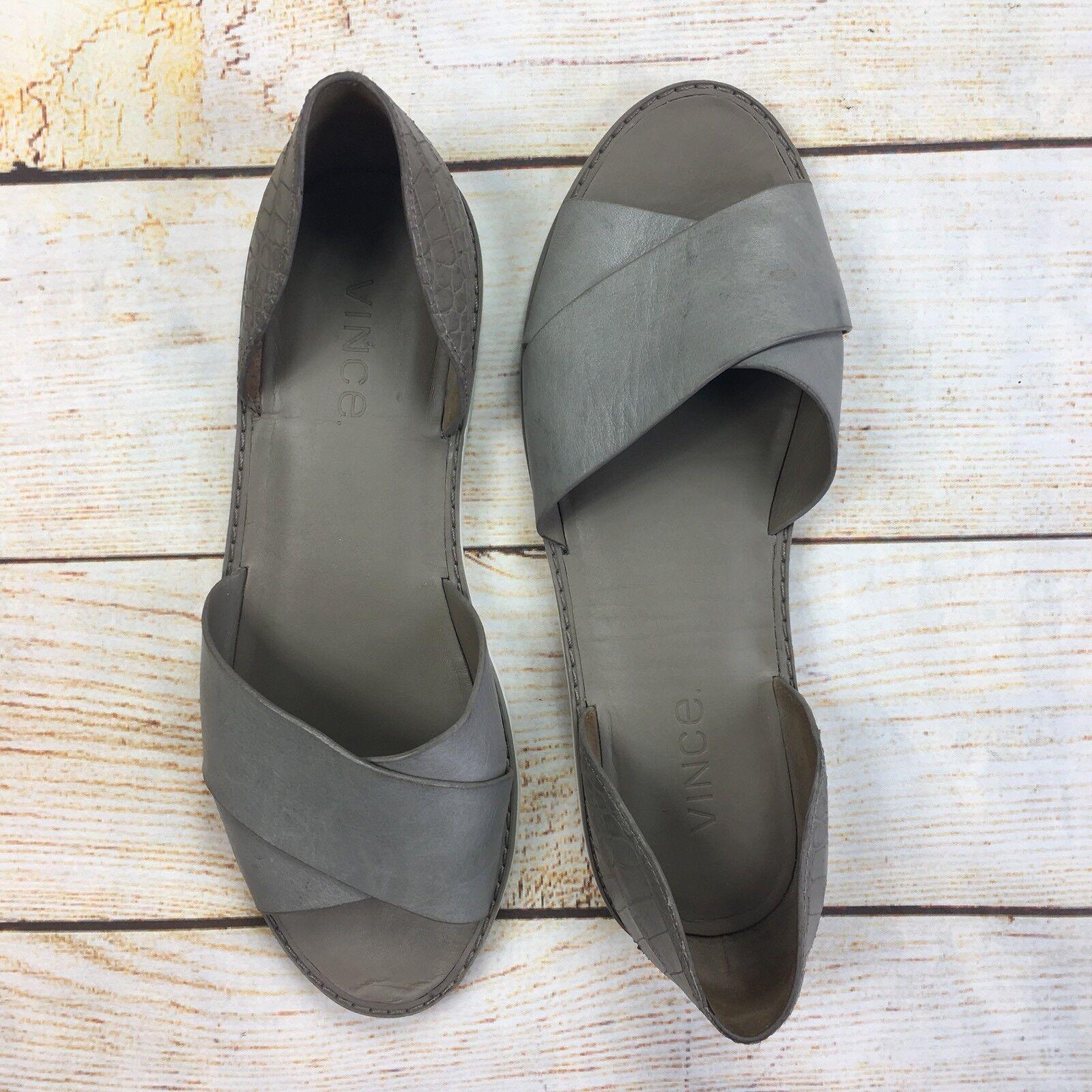 Vince Ida Open Toe Cross Strap Flat Sandale Gray Leder Croc Embossed Größe 8