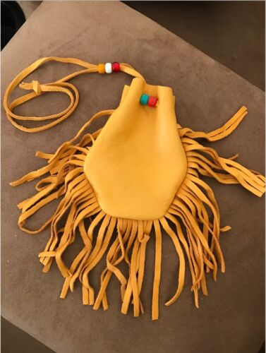 """with Glass Beads Deer Skin Pouch with Fringe 3.5/"""" wide- 4.5/"""" tall"""