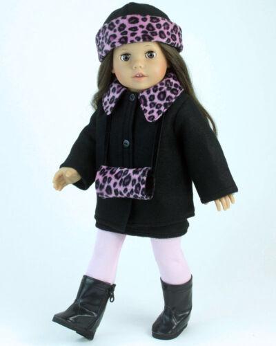 Hot Pink Animal Print Jacket Hat// Muff 3pc Set Fits 18 inch American Girl Dolls