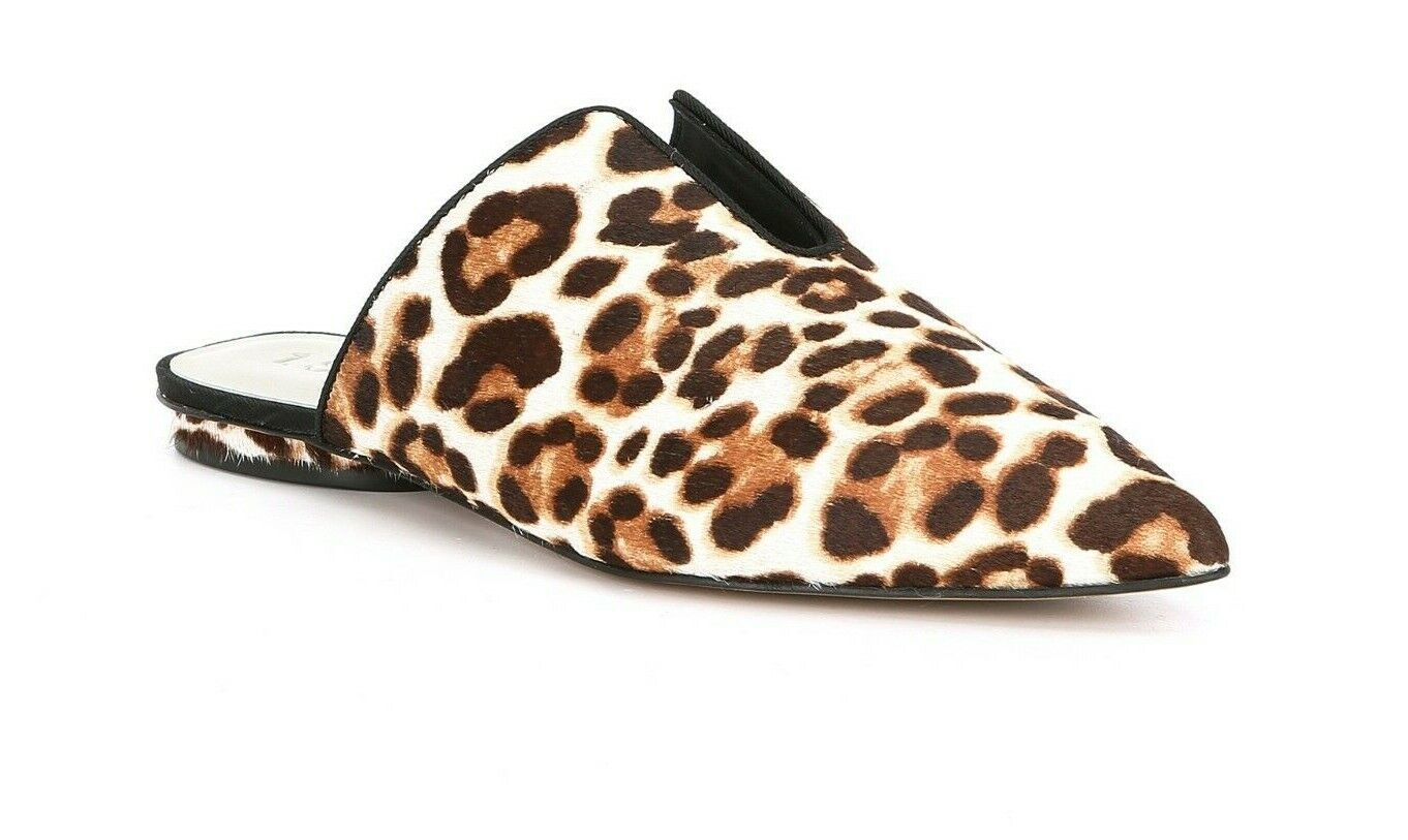 1. State Genia Womens Size 7M Leopard Print Calf Hair Pointed Toe Flat Mules New