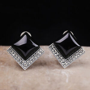 A03-Earring-Elegant-Ear-Studs-Silver-925-Square-Made-of-Black-Agate-Marcasite