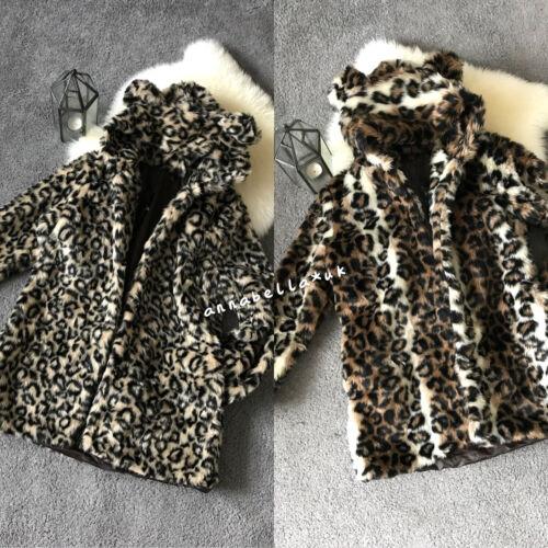 Ladies Women Girls Faux Fur Leopard Print Hooded Coat Mid Long Bear Ear Size8//10