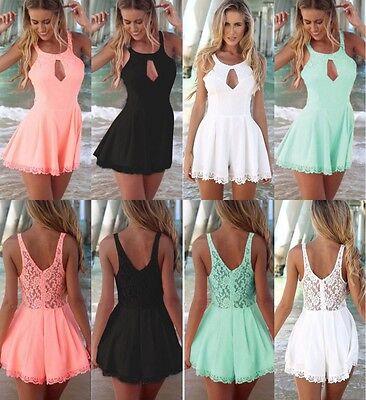 Sexy Women Celeb Lace Playsuit Jumpsuit Shorts Party Evening Summer Ladies Dress