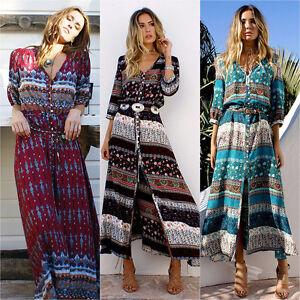 2640d85c72e0f Women Boho Floral Long Maxi Dresses Summer Casual Beach Shirt Dress ...
