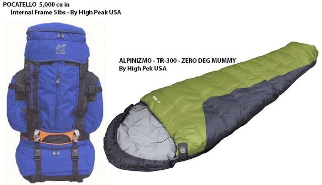 5,000 Cu.In ALPINIZMO INTERNAL FRAME BACKPACK W// 20 DEG BACKPACK MUMMY 81.9L