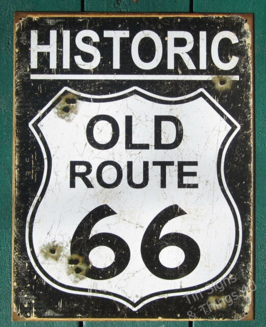 Historic Old Route 66 weathered TIN SIGN garage bar bullet holes wall decor 1938
