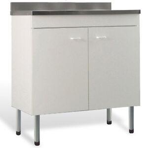 Mobile con lavello in acciaio inox colore bianco 100x50 cm doppia anta x cucina ebay - Mobile lavello cucina acciaio ...