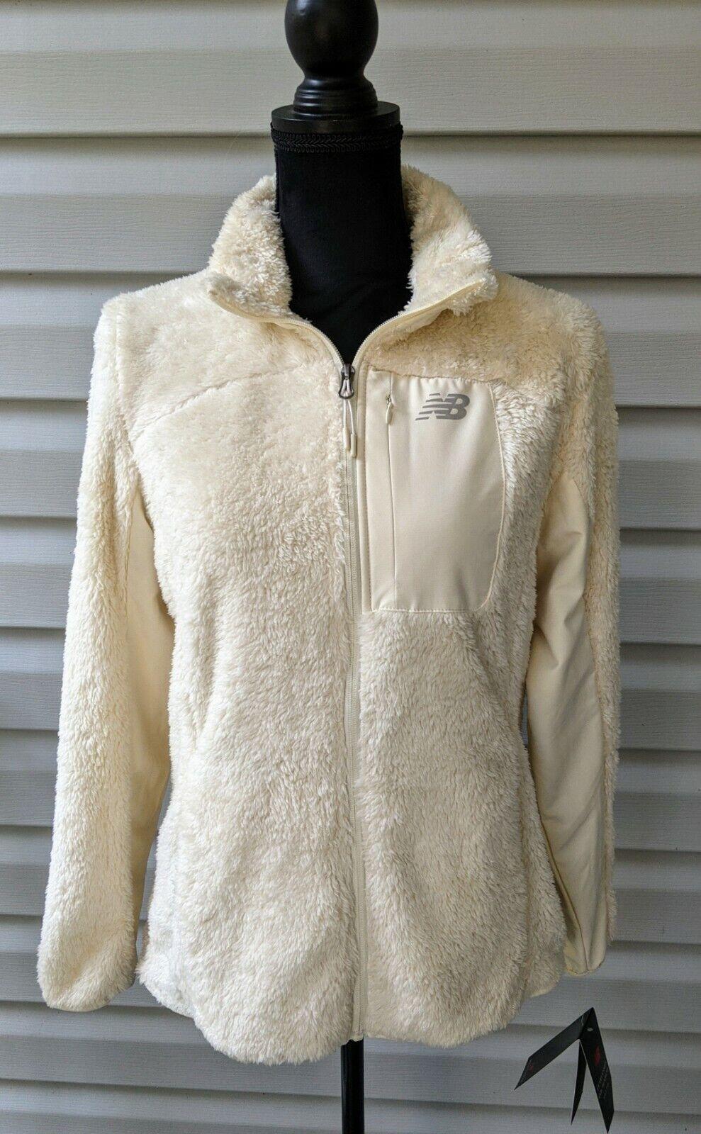 NEW BALANCE NB Full Zip Fleece Pile Faux Fur Jacket White Cream M Medium NWT