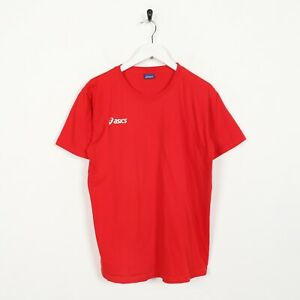 Vintage-ASICS-Small-Logo-T-Shirt-Tee-Red-Large-L
