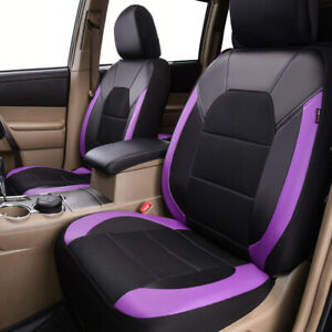 Universal-2-Front-Car-Seat-Covers-Black-Purple-Airbag-Compatible-for-SUV-Truck