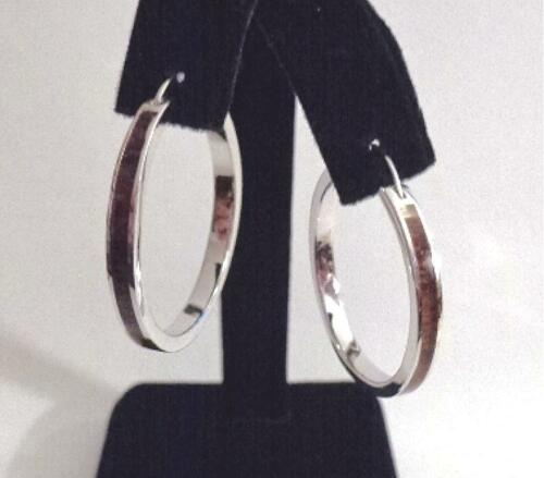 30.5 mm Rhodium Plaqué Argent Sterling 925 Incrusté Hawaiian Koa Wood Hoop Boucles d/'oreilles