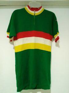 cbfc0ec51 Vintage Santini Color Block Cycling Jersey 3 Wool Acrylic Green ...
