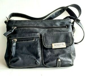 ROSETTI-Black-Vegan-Leather-Crossbody-Multi-Pockets-Medium-Handbag-NWOT