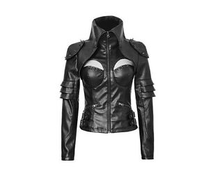 Gothic Giacca Rock Leather militare Ladies Steampunk stile Goth in Cyber 4FqTwp6xU