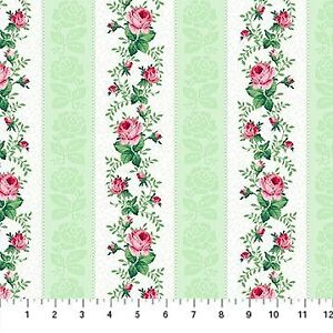 Clearance-Sale-Julia-039-s-Garden-Rose-Stripe-Floral-Cotton-Fabric-by-Northcott