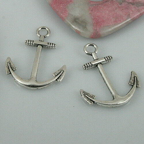 32pcs shinny silver color little anchor charms EF2430
