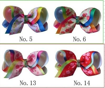 """100 BLESSING Girl 4/"""" Two Tone ABC Bow Clip Rainbow Flower Spring Hairbow Baby"""