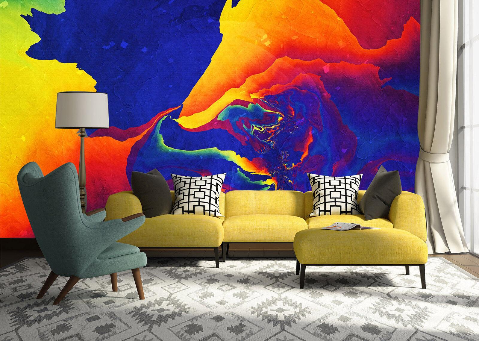 3D Gemalte Blaume Fototapeten Wandbild Fototapete Bild Tapete Familie Kinder887