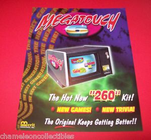 MEGATOUCH-6-By-MERIT-ORIGINAL-NOS-VIDEO-ARCADE-GAME-SALES-FLYER-BROCHURE
