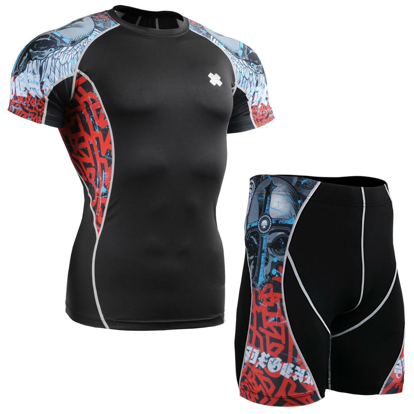 FIXGEAR C2S P2S-B73 Compression Shirt & Shorts Set Workout MMA Sportswear GYM