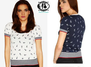 LADIES-NAUTICAL-ANCHOR-BOUTIQUE-KNITTED-TOP-JUMPER-BLOUSE-T-SHIRT-PAULS-amp-PRINCE