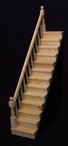 1-12-Scale-Natural-Finish-Wooden-Stair-Case-amp-Left-Bannister-Tumdee-Dolls-House