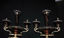 Pair French Empire Ormolu Glass Epergnes Centrepieces Urn