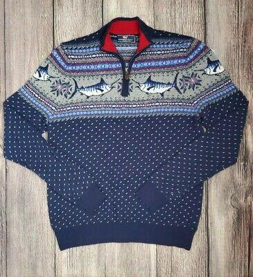 Vineyard Vines Boys Deep Bay Blue Marlin Whale Pattern 1//4 Zip Pullover Sweater