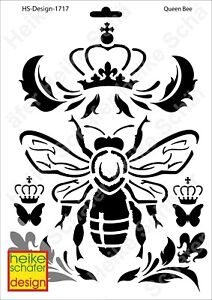 Schablone-Stencil-A4-154-1717-Queen-Bee-Neu-Heike-Schaefer-Design